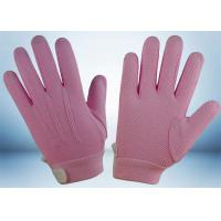 China Dyed Colors Cotton Work Gloves Magic Tape On Wrist 145gsm Fabric Weight on sale