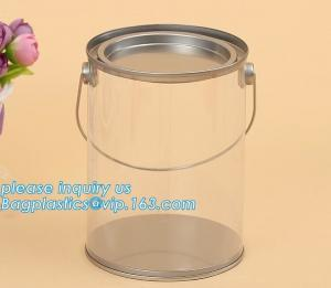 China 100ml pet clear plastic can,fruit candy tin container jars with aluminum lid,1 gallon clear paint can size bagease pack on sale
