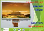 Wide View Angle TFT LCD Display 7 Inch 800 * 480 Resolution 500cd / M² Brightness