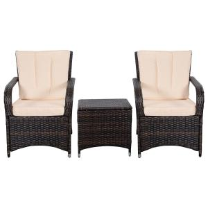 China 3 PCS Outdoor Wicker Furniture Patio Rattan Furniture Table Chairs set on sale