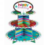 Eco Friendly Colorful Cardboard Cake Stand 3 Tier Type Solid Structure