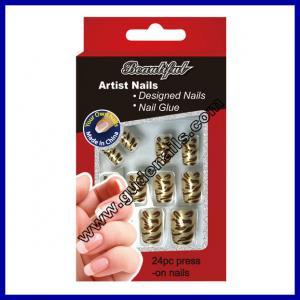 Zebra Stripe Salon Fake Nails Glitter On Nail Pre Design Nail Tips