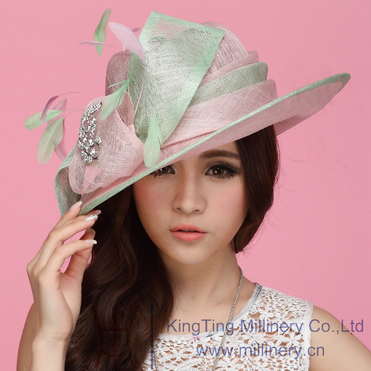9e84c87a0a12a Green   Pink Sinamay Ladies Hats Sinamay Feather Trim For Church   Wedding