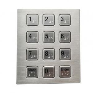 China RS232 3 x 4 smart vending machine keypad with Braille dots stainless steel material on sale