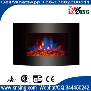 35 Black Curved Tempered Glass Wall Mounted Electric Fireplace