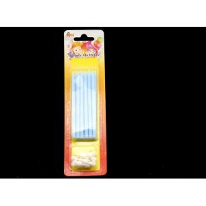China Paraffin Wax Skinny Long Birthday Candles , Blue Color Tall Candles For Cake on sale