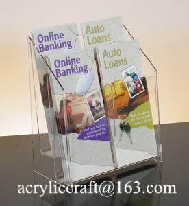China Acrylic brochure holder, plexiglass brochure stand / racks with 4 pockets on sale