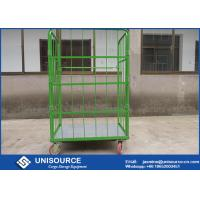 Roll Cage Container With Foldable Steel Basket , Medium Duty Wire Mesh Container