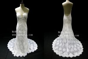 China Sexy backless V-neckline applique lace chepel train wedding dress bridal gown BYB-14588 on sale