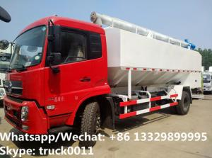 China 2018s good price dongfeng new 20m3 10tons hydraulic discharging bulk feed truck for Bolivia, poultry feed  body  truck on sale