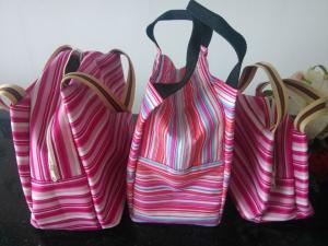 China Polyester Stripe Color Cooler Shoulder Bag Thermal Insulated Bag on sale