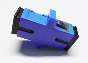 Quality Ceramic Fiber Ferrule Blue SC UPC SM Simplex Fiber Optic Adapter with long flange for sale