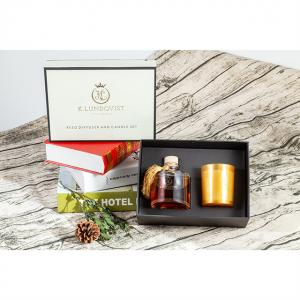 China Round Shape Luxury Scented Candle Diffuser Gift Set / Reed Diffuser And Candle Set on sale