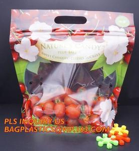 China fresh fruit bag with vent hole for grape tomato cherry, fruit packaging anti-fog vegetable plastic bag, Customized Fruit on sale