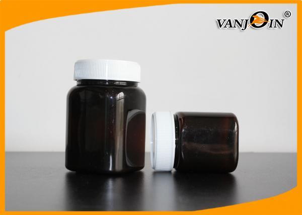 350g Amber Square Plastic Jar With Screw Cap , Medicine