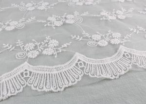 China Floral Embroidery Bridal Scalloped Edges Lace Fabric For Off White Wedding Gowns on sale