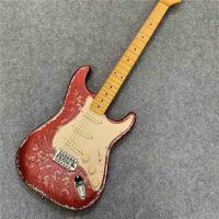 High Quality Electric Guitar Relic Retro Strat Electric Guitar with Pink Flower Color free shipping