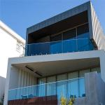 Antirust outdoor metal railing with tempered glass and stainless steel