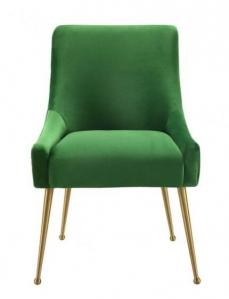 Quality Restaurant Wedding Dining Chairs Emerald Green Velvet Fabric Metal Designer for sale