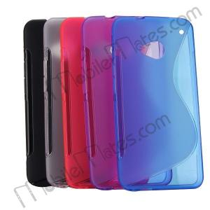 China Transparent S Shape TPU Gel Soft Back Cover Case Skin For HTC One M7 on sale