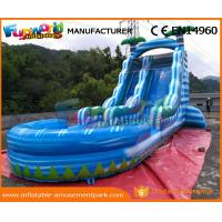 China 0.55mm PVC Tarpaulin Commercial Inflatable Slide Blue Palm Tree Slide With Pool on sale