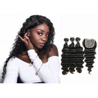 Double Sewed Weft 8A Virgin Brazilian Hair Extensions Deep Wave With Frontal