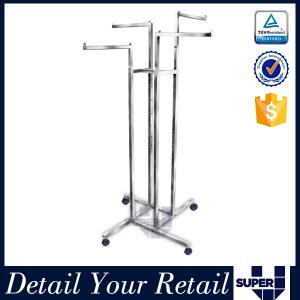 China Stainless steel clothes store fixture 4 ways free standing display rack on sale