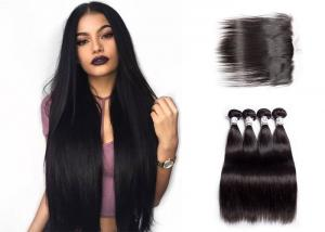 China Queenlife Long Remy Straight Human Hair Weave 3 Bundles With Frontal Natural Looking on sale