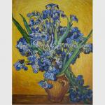 Custom Hand Painted Van Gogh Irises In Vase Against A Yellow Background