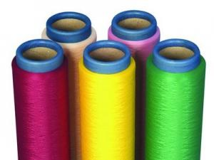 China Full - Dull Twisted Dope Dyed Yarn Polyester DTYYarn For Fabric End on sale