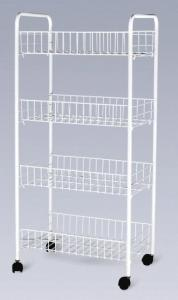 Awesome Folding 4 Tier Metal Wire Shelves Kitchen Storage Cart Racks With White  Painting JP 44