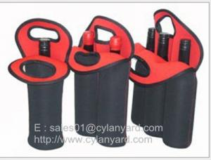 China Wine bottle neoprene cooler handbag selection, tailor made neoprene bottle coolers, on sale