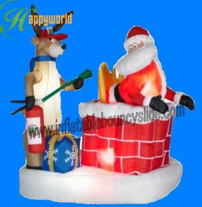 China Commercial Inflatable Yard Decorations Christmas / Inflatable Santa With Reindeer on sale