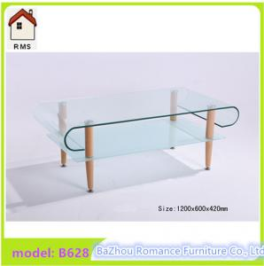 China 2015 new hot bending glass coffee table wood legs glass coffee table B628 on sale