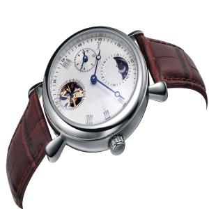 China Stylish Germany Mens Brown Leather Strap Watches Mechanial Movt  Nick Free on sale