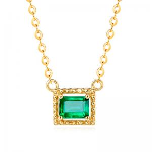 China Solid 18 Karat Gemstone Gold Jewelry , Princess Cut Emerald Necklace Pendant on sale