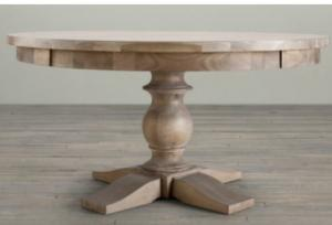 Quality French Provincial Solid Oak Wood Room Table Pedestal Vintage Wooden  Farmhouse Round Tables For Sale