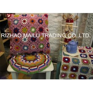 China Daisy Colorful Flower Hand Crochet Cushion Cover For Home Use , Pink on sale