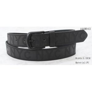 Embossed Logo Black Leather Jeans Belt , Black Painting Buckle Casual Male Belts