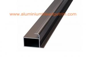 China Extruded Cupboard Aluminium Cabinet Door Profiles Anodized Iron Grey Color on sale