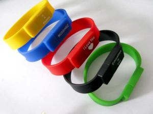 China Bracelet USB Flash Drive with Personalized Custom Logo, Silicone USB bracelet on sale