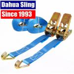 China 25mm Blue Motorcycle / Ratchet Tie Down Straps With Double J  Hook 100% Polyester wholesale