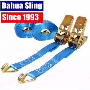Quality 25mm Blue Motorcycle / Ratchet Tie Down Straps With Double J  Hook 100% Polyester for sale