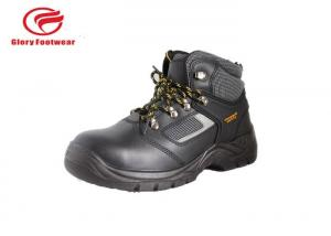 China Ladies Full Grain Leather Lightweight Steel Toe Boots Black , Mens Steel Cap Work Boots on sale