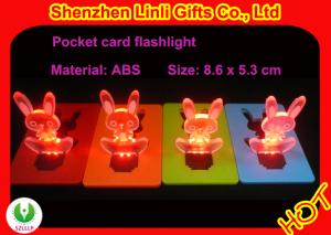China ABS colorful rabbit shape mini pocket led card flashlight LED flashing toys on sale