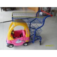 Supermarket Kids Shopping Carts , child size metal shopping cart 4 swivel flat TPE casters