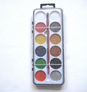 China 12 colors glitter painters set with paint brush on sale