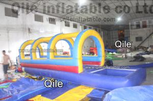 China 0.55 mm Blue Giant Waterproof Outdoor Inflatable Water Slides For Kids And Adults on sale