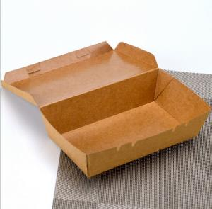 China brown color square disposable kraft paper food packaging boxes on sale