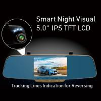 """5"""" TFT LCD Screen Dual Record Parking Sensor DVR with Tracking Line and Voice Warning & Image Displaying 140 angle"""